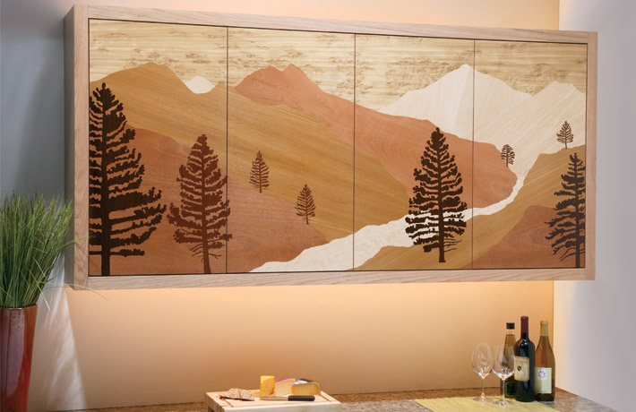 Mountain cabinetry wood inlay / architectural inlay