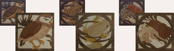 Tile reproductions in artistic wood inlay (marquetry). Copyright 2007 Grant Chai.